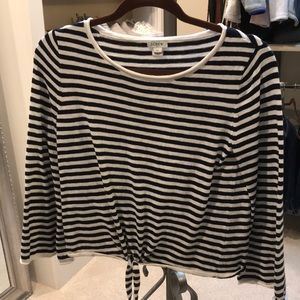 J.Crew striped sweater with tie front